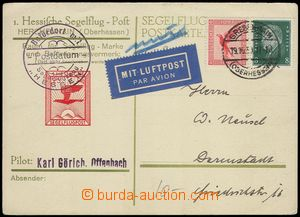 77566 - 1930 special card to 1. postal flight in/at Hesse with sailp
