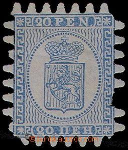 77620 - 1866 Mi.8C Znak,  namodralý papír, 1x chybí zoubek, 1x na