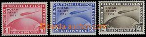 77624 - 1931 Mi.456-58 Graf Zeppelin, přetisk Polar Fahrt, stopy po