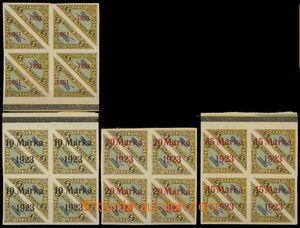 77628 - 1923 Mi.41 + 43-45 Overprint issue, blocks of four, imperfor