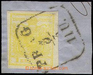 77629 - 1850 Mi.1, MP, type III., 1 Kr yellow, cut square,  framed p