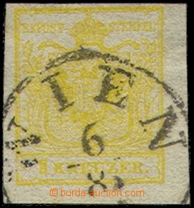 77637 - 1850 Mi.1, 1 Kr yellow, type III., HP, irregular margins, pa