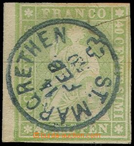 77644 - 1854 Mi.17 Seated Helvetia, imperforated, black vlákno hori