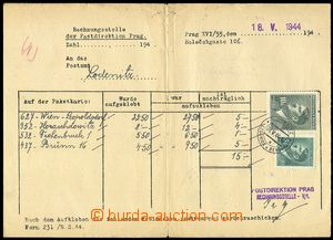 77645 - 1944 blank form sent postal head office Prague to post off.