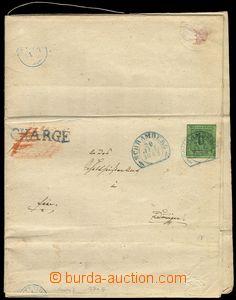 77675 - 1852 skládaný dopis vyfr. zn. Mi.3b, 6Kr zelená, DR SCHRA