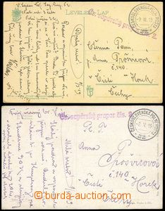 77710 - 1919 sestava 2ks pohlednice zaslaná z PP 22, útvarové raz