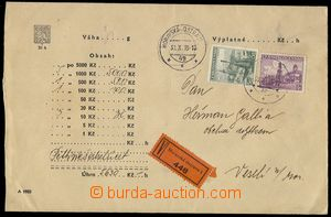77737 - 1939 money letter (money letter), franked with. Czechosl. st