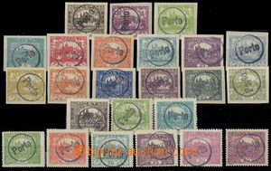 77751 - 1918 selection of 24 pcs of stamps Hradčany with hand-made