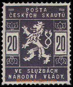77755 - 1918 trial print 20h, fialověčerná color, paper with gum,