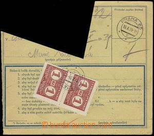 77769 - 1939 larger cut out parcel dispatch-note, on reverse mounted