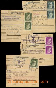 77780 - 1942 4x larger part of parcel card with franking, mailing p�