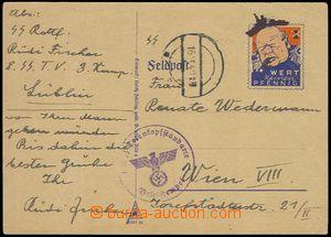 77836 - 1940 lístek s karikaturou (Spottkarten) Churchill, Mi.1, ad