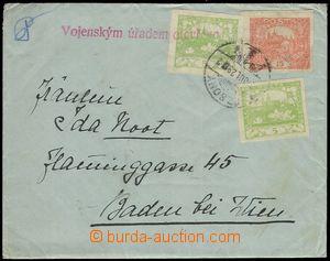77843 - 1919 dopis do Rakouska, vyfr. zn. Pof.3 2x, 7, uherské DR P