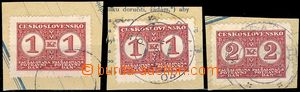 77864 - 1937 comp. 3 pcs of cut-squares with stamps food tax, 2x 1CZ