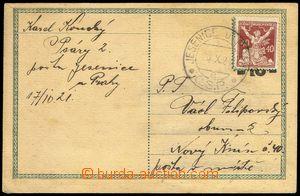 77894 - 1921 CDV1 použitá po platnosti, vylepena známka 40h OR, I