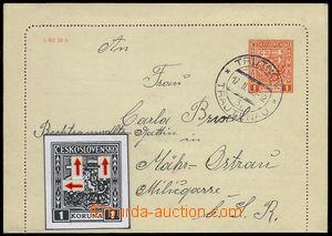 77903 - 1938 CZL2C, Znak, prošlá zálepka s okraji a retuší DV s