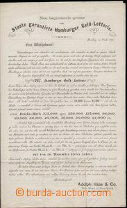 77923 - 1874 NĚMECKO  ozdobný tištěný propagační formulář loterie v