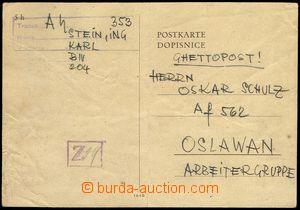 77973 - 1943 KT TEREZÍN  dopisnice zaslaná z KT do Oslavan na př�