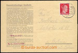 77982 - 1943 KT AUSCHWITZ  předtištěný skládaný dopis zaslaný