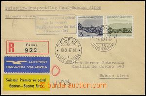 78076 - 1947 R+Let. dopis vyfr. zn. Mi.232, 234, DR Vaduz 7.X.47, 1.
