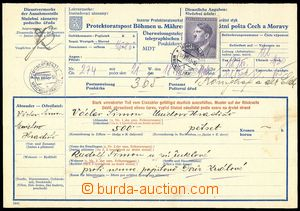 78093 - 1943 stationery COF6 telegraph postal order 2. part, with Po