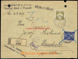 78100 - 1941 dopis R služební zásilka s návratkou, vyfr. zn. Pof