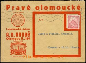 78103 - 1942 commercial letter with additional-printing  Pravé Olom
