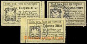 78135 - 1894 comp. 3 pcs of phonecards Mi.TB18,19,20, various postma