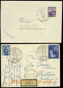 78146 - 1954-55 2 pcs of entires with postmarks Christkindl, 1x used