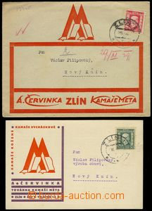 78148 - 1929 META ZLÍN production kamaší, letter and card with ad