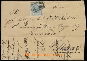 78178 - 1851 folded letter abroad, with 9 Kreuzer (Mi.5), plate flaw