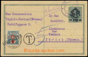 78195 - 1919 CDV1 zaslaná do Švýcarska, pro nedostatečné výpla