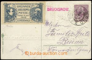 78198 - 1908 postcard sent after/around Brno as printed matter, on/f