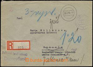 78213 - 1945 EXPULSION OF GERMANS  unpaid Reg letter, rubber hand st
