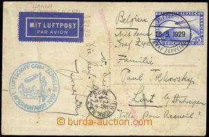 78216 - 1929 postcard sent through/over USA to Belgium, transfered b