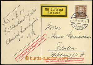 78217 - 1929 lístek vyfr. zn. Mi.396, přepravený vzducholodí Gra