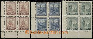 78229 - 1929 Pof.254-56 Města a krajiny, levé dolní rohové 4-blo