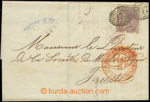 78275 - 1861 folded letter to Trieste with Mi.14, oval numeral pmk 4