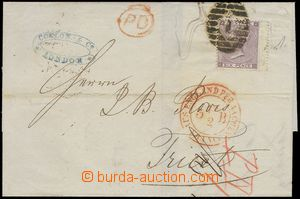 78277 - 1864 folded letter to Trieste with Mi.20, oval numeral pmk 1