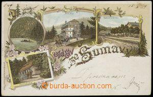 78328 - 1899 ŠUMAVA - litografická koláž, nádraží, hotel, pen