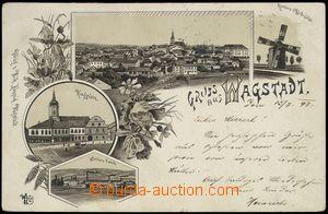 78329 - 1897 BÍLOVEC (Wagstadt) - litografická koláž, větrný m