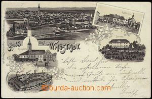 78330 - 1902 BÍLOVEC (Wagstadt) - lithography, castle, factory; lon