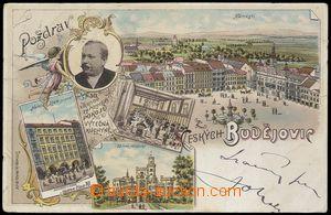 78335 - 1899 ČESKÉ BUDĚJOVICE - litografická koláž, propagačn