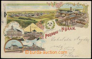 78347 - 1899 NÝŘANY - litografická koláž, synagoga, důl, radni
