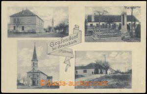 78361 - 1920 HRABĚTICE (Grafendorf) - 4-okénková, škola, pomník