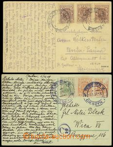 78399 - 1919 2 postcard franked with. Polish postage stmp.:  Mi.3x 1