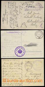 78464 - 1915 sestava 3ks pohlednic přepravených FP, razítka FP 30