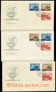 78474 - 1952 FDC 11/52v +11/52w, 3 pcs of, with stamps Pof.648-650 A