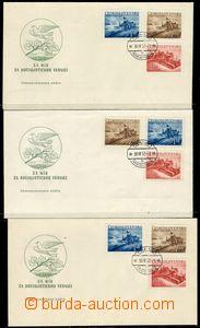 78474 - 1952 FDC 11/52v +11/52w, 3ks, se známkami Pof.648-650 Socia