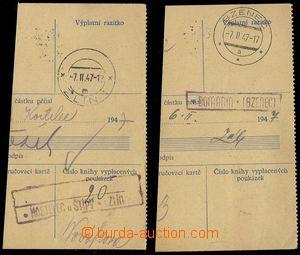 78493 - 1947 poštovny DOMANÍN a KOSTELEC u ŠTÍPY, sestava 2ks ú